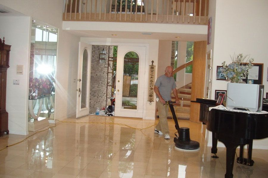 Travetine Terrazzo Floor Restoration And Polishing Tampa